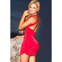 Sexy Mini Vestido Fiesta Rojo De Tirantes Escote En Espalda