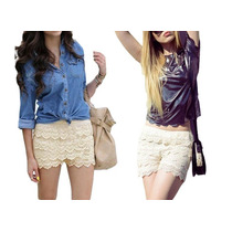 Short Falda, Úsalo Por Fuera, Modelo Retro Color Beige !