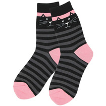 Calcetines Gatito Negro Patrón Líneas Tamaño Único Sirve