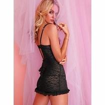 Victoria Secret The Lacie Baby Doll Corazones Negro Talla L