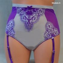 Victoria Secret Panty Liguero Morado Encaje Blanco