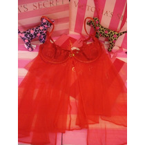 Victorias Secret The Leather Red Bra Baby Doll Sz 36d