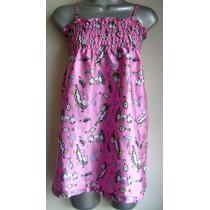 Camison Pijama Satinado Rosa Con Gatos Y Elastico M