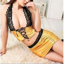 Sexy Conjunto Dorado Baratísimo Aprovecha! Lencería Dama