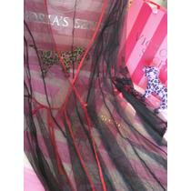 Victorias Secret The Black Translucid Robe Bata Sz M/l