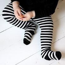 Pantimedia Rayada Negro Con Blanco Talla 1-3 Años