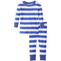 Nuevos Pijamas De Los Bebés Blancos Rayas Azules Orgánica Be