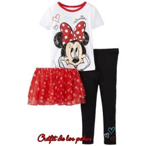 Conjunto Niña Minnie Mouse Mimi 3 Piezas Talla 4t Nuevo