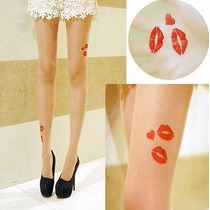Pantimedia Decorada (tatoo) Labios Rojos. Beige, De Moda .