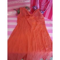 Victorias Secret Baby Doll Coral Semi Largo 100% Seda Sz M