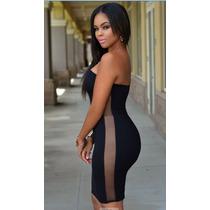 Sexy Mini Vestido Negro Straples Transparencias En Costados
