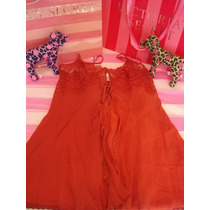Victorias Secret The Silk Red Open Baby Doll 100% Seda Sz S