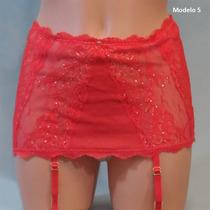 Victoria Secret Liguero Rojo Con Minifalda, Tanga Interior