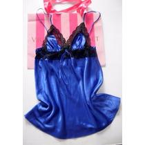 Victorias Secret Camisón Saten Y Encaje Azul M