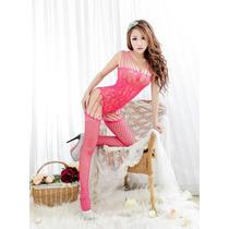 Moda Sexy Body Baby Doll De Red Con Ligueros Y Medias