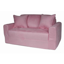 Elegante Sofa Cama De Gamuza Fun Furnishings Rosa
