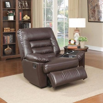 Sillon Reclinable Sofa Con Masage Chocolate Piel Memory Foam