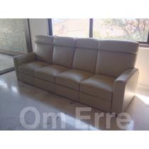Sofa De Piel, Reclinable 4 Plazas