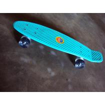 Patineta Plastico Crusier Mini Long Retro Skateboard Aqua