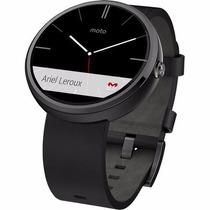 Smart Watch Motorola Moto 360 Negro Gris Piel Reloj Android