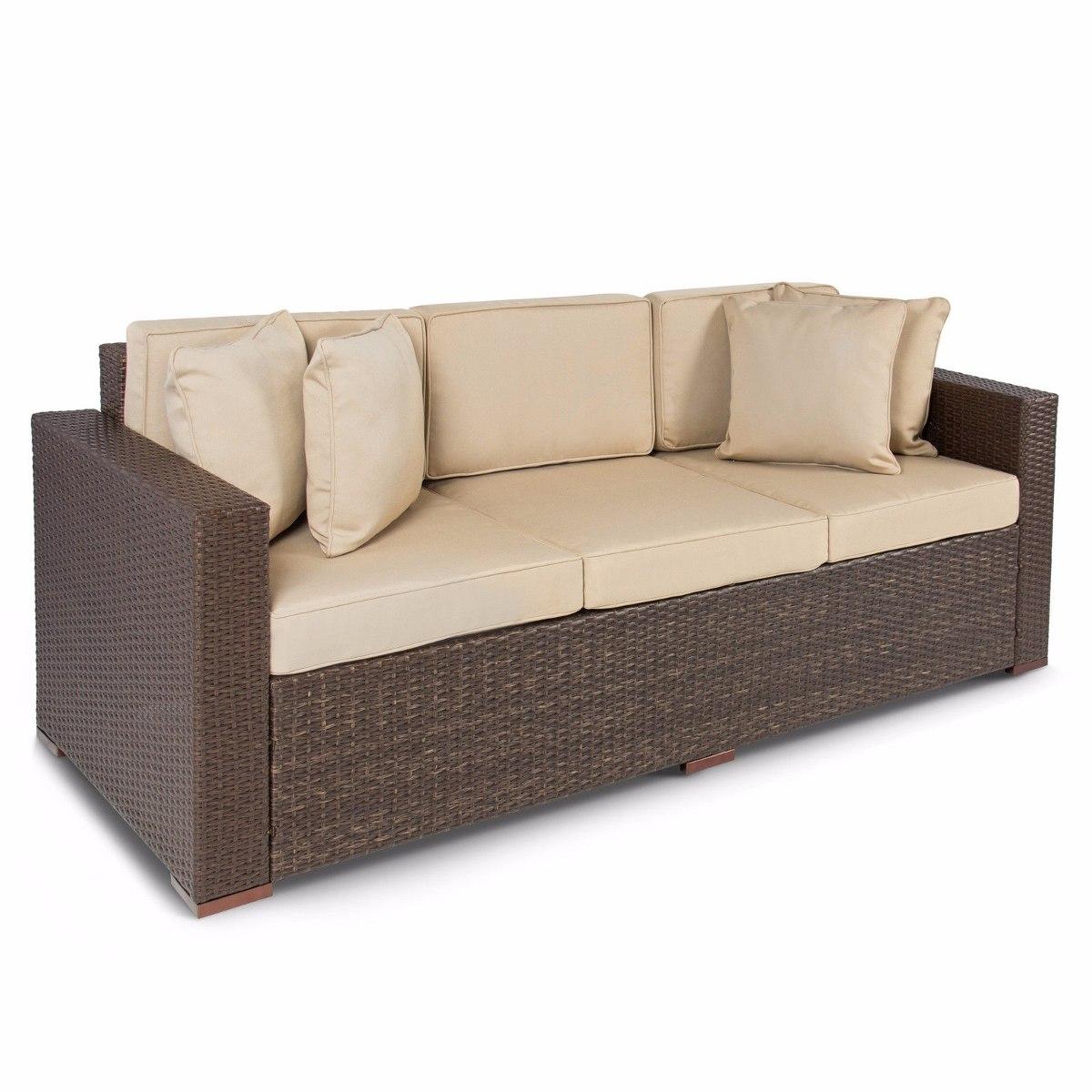 Sof mimbre aire libre 3 asientos sill n marr n 14 en mercadolibre - Sofa de mimbre ...