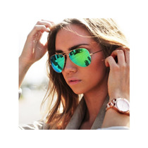 Lentes Ray Ban Aviador Flash Espejo Verde Rb3025 112/19
