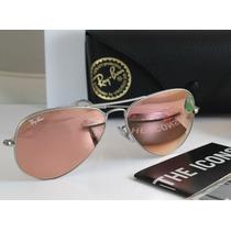 Lentes Gafas Sol Ray Ban Aviador Aviator Rosa Espejo Pink Rb