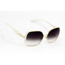 Lentes De Sol Cuadrados Blanco/dorado Ls71