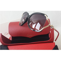 Lentes De Sol Cartier Panthere 731/c3 Black And Red Gold