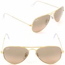 Gafas Ray Ban Aviador Gradient Cafe Brown 3026 Dorado Grande
