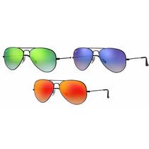 Lentes Gafas Ray Ban Aviator Rb3025 002 Espejado Degradado