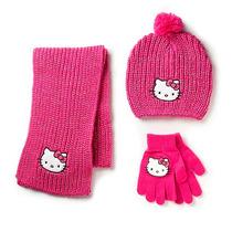 Hello Kitty 3 Piezas Sombrero Guante Y Bufanda Set - Rosa