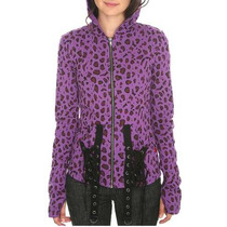 Hot Topic Sudadera Tripp Purple And Black Cheetah Hoodie Ch