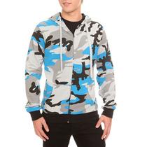 Hot Topic Sudadera Grey Blue Black Camouflage Zip Hoodie G