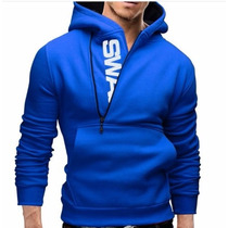 Sudadera Moda Japonesa Hombre Azul Talla Chica