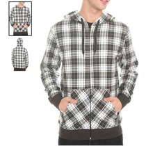 Hot Topic Sudadera White Grey And Black Plaid Zip-up Hoodie
