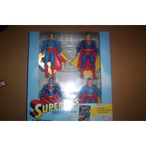 Superman Set Directo De Los Años 4 Figuras Con Bases Y Comic