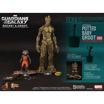 Hot Toys Guardianes De Galaxia Groot Y Rocket Set Exclusivo