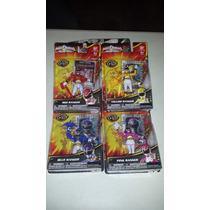 Power Rangers Set Con 4; Red, Yellow, Blue Y Pink De Bandai