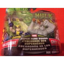 Marvel Super Hero Squad 2 Pack Wolverine Y Hulk Gris Grey