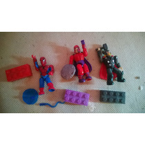 Tres Figuras Megablocks Marvel Thor Magneto Spiderman