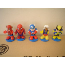 5 Mini Figuras De Spiderman Y X-men Miden 6 Cms