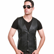 Chalecos De Piel Original Rockero, Casual, Formal, Slim Fit.