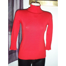 Sweater Rojo Ivonne Talla Chica 100% Original Cuello Alto