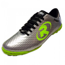 Tenis Zapato Futbol Rapido R55 Plata Neon Ruggel Galgo
