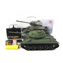 Humo Real Tanque T34 Radio Control Rcy Dispara Sonidos 1/16