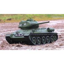 Tanque T34 Radio Control Rc Humo Y Dispara Sonidos 1/16
