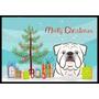 Árbol De Navidad Y Blanco Bulldog Inglés Mat Interiores O