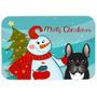 Muñeco De Nieve Con El Francés Bulldog Cocina O Baño Mat