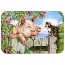 Cerdo En La Puerta De La Cocina O Del Gato Alfombra De Baño